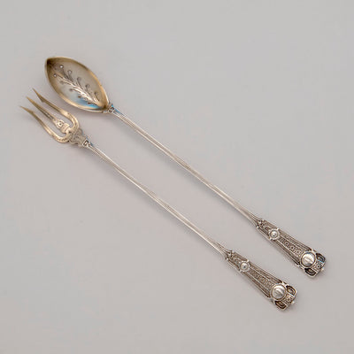 John Wendt 'Ribbon' Pattern Antique Sterling Silver Olive Serving Set, NYC,  c. 1875