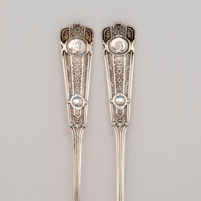 Handles to John Wendt 'Ribbon' Pattern Antique Sterling Silver Olive Serving Set, NYC,  c. 1875