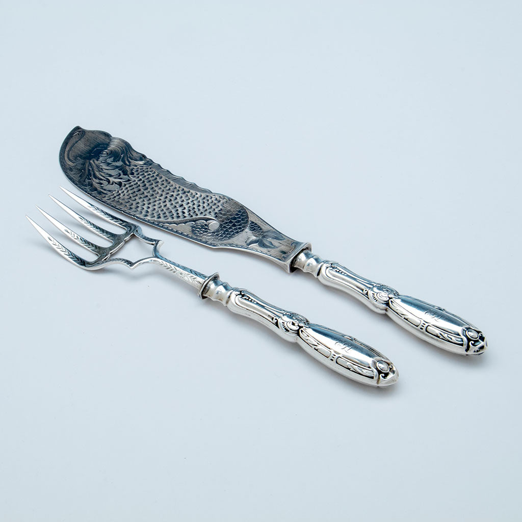 William Gale & Son Antique Coin Silver Fish Serving Set, NYC, 1853