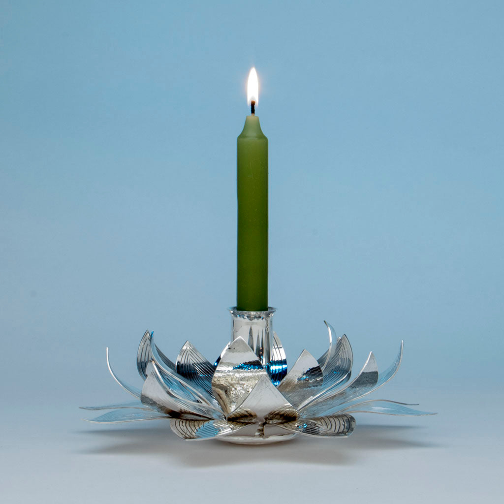 Henry Petzal Modern Sterling Silver Candle Holder, Lenox, MA, 1979