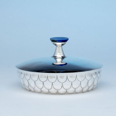 Henry Petzal Modern Sterling Silver and Lapis Covered Bowl, Shrewsbury, New Jersey, 1980