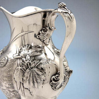 Handle to Whiting Antique Sterling Silver Art Nouveau Water Pitcher and Yachting Trophy, New York City, 1904