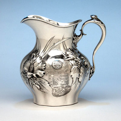 Whiting Antique Sterling Silver Art Nouveau Water Pitcher and Yachting Trophy, New York City, 1904