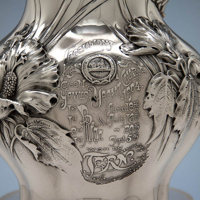 Presentation on Whiting Antique Sterling Silver Art Nouveau Water Pitcher and Yachting Trophy, New York City, 1904