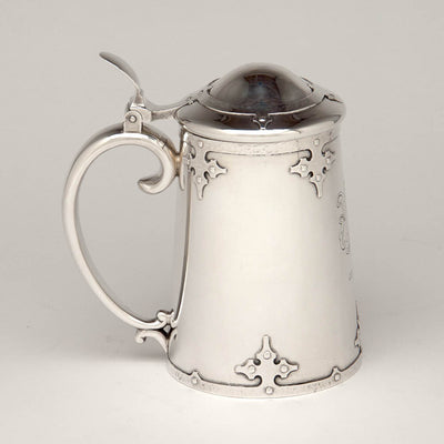 Shreve & Co 'Fourteenth Century' Sterling Silver Covered Tankard, San Francisco, c. 1909