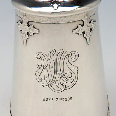 Monogram on Shreve & Co 'Fourteenth Century' Sterling Silver Covered Tankard, San Francisco, c. 1909