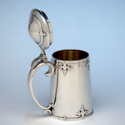 Open Shreve & Co 'Fourteenth Century' Sterling Silver Covered Tankard, San Francisco, c. 1909