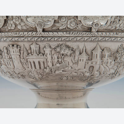 Repoussed castles on S. Kirk & Son Antique Sterling Silver Covered Monteith, Baltimore, 1846-61