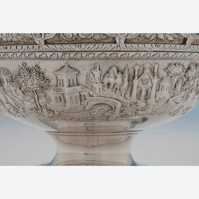 Repousse on S. Kirk & Son Antique Sterling Silver Covered Monteith, Baltimore, 1846-61