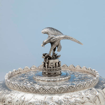 Top of S. Kirk & Son Antique Sterling Silver Covered Monteith, Baltimore, 1846-61