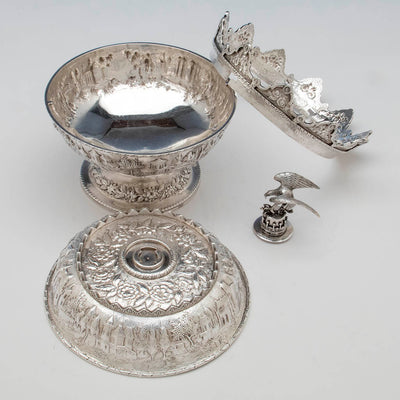 Parts to S. Kirk & Son Antique Sterling Silver Covered Monteith, Baltimore, 1846-61