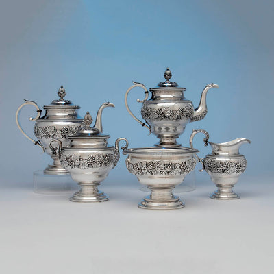 Harvey Lewis Antique Coin Silver 5 Piece Tea Service, Philadelphia, 1811-1828
