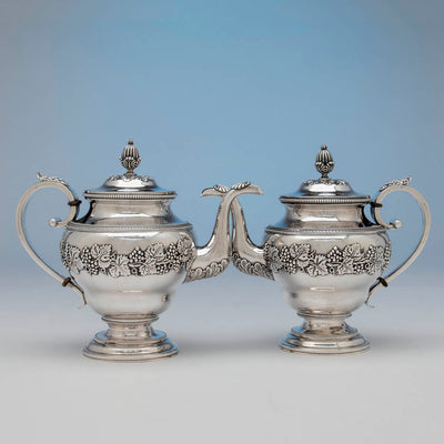 Pts to Harvey Lewis Antique Coin Silver 5 Piece Tea Service, Philadelphia, 1811-1828