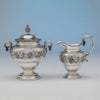 Creamer and sugar to Harvey Lewis Antique Coin Silver 5 Piece Tea Service, Philadelphia, 1811-1828