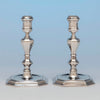 Detail of Warner, Andrew Ellicott Pair of Antique American Silver Candlesticks, Baltimore, MD, c. 1840