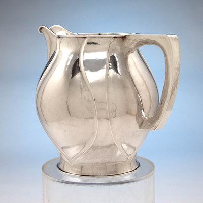 Handle to The Kalo Shop Hand Wrought Sterling Silver Arts & Crafts Pitcher with Original Tray, Chicago, Illinois - 1920