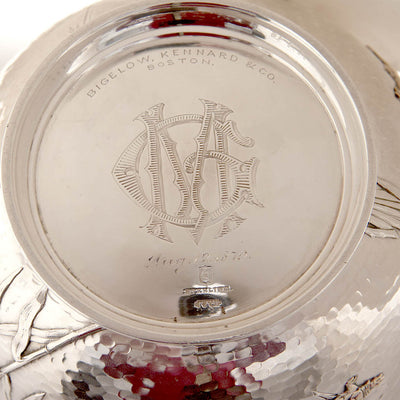 Monogram on Kennard & Jenks Antique Sterling Silver and Mixed Metals Japonesque Bowl, Boston, 1879