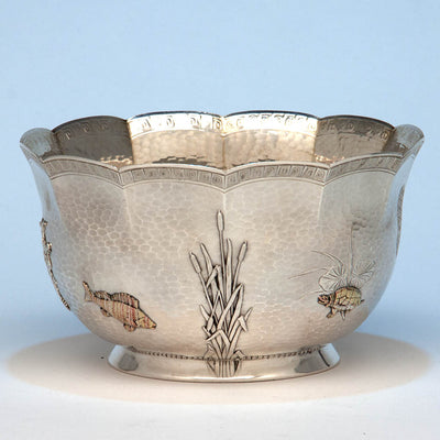 Kennard & Jenks Antique Sterling Silver and Mixed Metals Japonesque Bowl, Boston, 1879