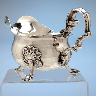 Handle to Peter Archambo II and Peter Meure George II Antique English Sterling Silver Sauce Boat, London,1748/49