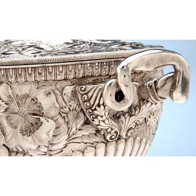 Handle to Gorham 'Eglantine' Antique Sterling Silver Aesthetic Movement Covered Tureen, Providence, 1884