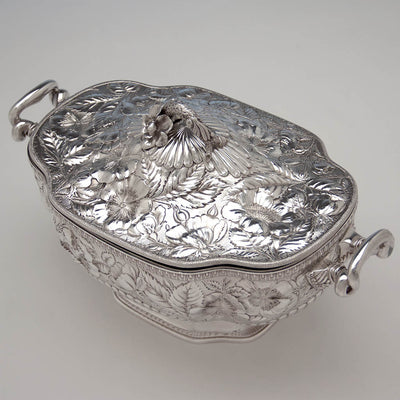 Top of Gorham 'Eglantine' Antique Sterling Silver Aesthetic Movement Covered Tureen, Providence, 1884