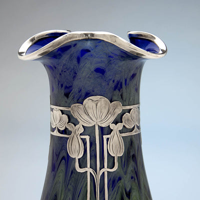 Top of La Pierre Sterling Silver Overlay Large Antique Vase with Loetz (attributed) 'Titania' Glass , New York and Austria, c. 1905-10