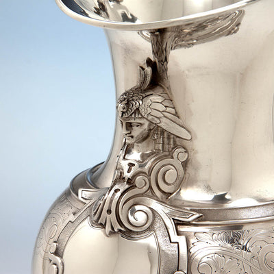 Bust on Gale, Dominick & Haff Antique Sterling Silver Medallion Pitcher and Goblets Set, New York City, 1870-72