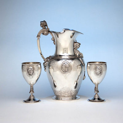 Gale, Dominick & Haff Antique Sterling Silver Medallion Pitcher and Goblets Set, New York City, 1870-72