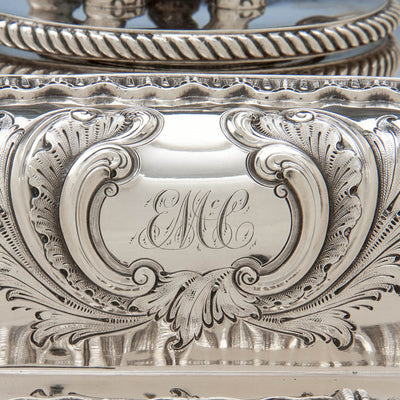 Monogram on Bailey & Co Antique Coin Silver Covered Entree Serving Dishes exhibited at the New York Crystal Palace Exhibition, Philadelphia, 1853