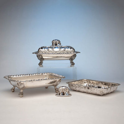Parts of Bailey & Co Antique Coin Silver Covered Entree Serving Dishes exhibited at the New York Crystal Palace Exhibition, Philadelphia, 1853