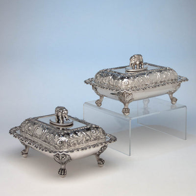 Bailey & Co Antique Coin Silver Covered Entree Serving Dishes exhibited at the New York Crystal Palace Exhibition, Philadelphia, 1853