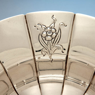 Detail of Erik Magnussen Rare Designed for Gorham Art Deco Sterling Silver Centerpiece Bowl, Providence, 1926