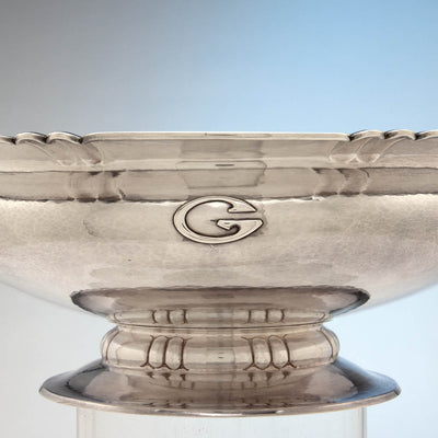 Applied monogram on The Kalo Shop Arts & Crafts Sterling Silver Hand Wrought Large Centerpiece/ Punch Bowl, Chicago, IL, 1929-34