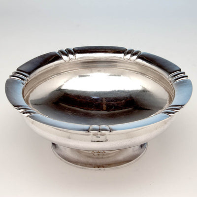 Interior of The Kalo Shop Arts & Crafts Sterling Silver Hand Wrought Large Centerpiece/ Punch Bowl, Chicago, IL, 1929-34
