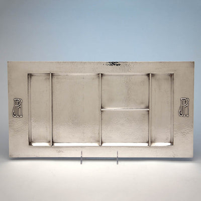 The Kalo Shop Large Hand Wrought Sterling Silver Arts & Crafts Desk Tray, Chicago, IL, c. 1920's