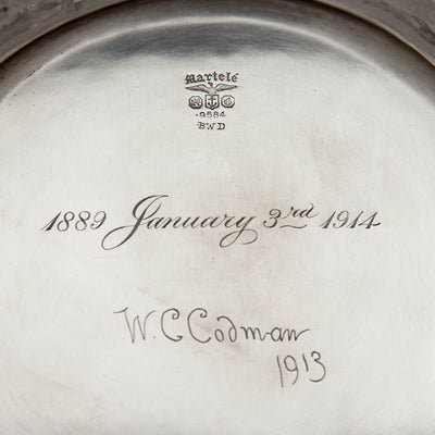 Marks on Gorham Martelé .9584 Silver Antique Centerpiece Bowl signed by William C. Codman, Providence, RI, 1913