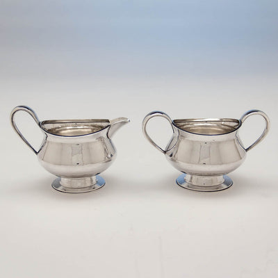 Creamer and sugar to Leslie Durbin English Mid-Century Modern Sterling Silver Coffee Service with Tray, London, 1967/68