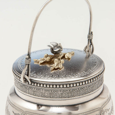Handle to Gorham Antique Sterling Silver Covered Condiment Jar with Bird Finial, Providence, RI, 1871