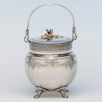 Gorham Antique Sterling Silver Covered Condiment Jar with Bird Finial, Providence, RI, 1871