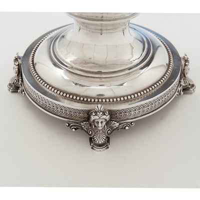 Base of Tiffany & Co Antique Sterling Silver Figural 'Wine Cooler-Vase', New York City, c. 1870