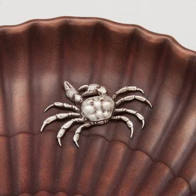 Crab on Gorham Copper & Other Metals Shell Grape Dish, Providence, RI, c. 1882