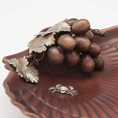 Grapes on Gorham Copper & Other Metals Shell Grape Dish, Providence, RI, c. 1882