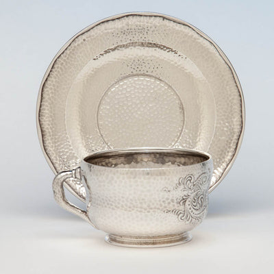 Tiffany & Co. Antique Sterling Silver Aesthetic Movement Spot Hammered Cup and Saucer, New York City, c. 1880