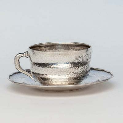 Side of Tiffany & Co. Antique Sterling Silver Aesthetic Movement Spot Hammered Cup and Saucer, New York City, c. 1880