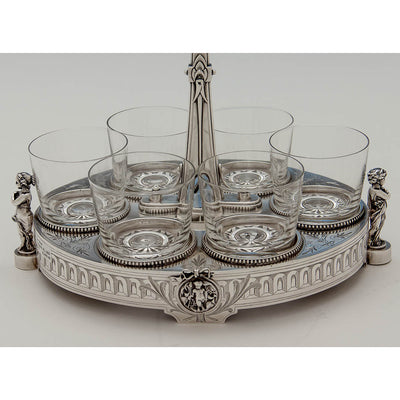Stand of Gorham Antique Coin Silver Figural Caster Stand with 6 Glasses, Providence, RI, 1867