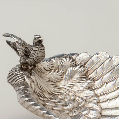 Cast bird on Whiting Antique Sterling Silver Figural Bird Dish, New York City, c. 1870's