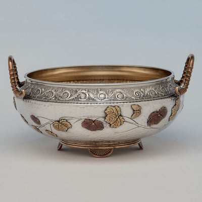 Gorham Antique Sterling Silver and Other Metals Aesthetic Movement Mixed Metals Centerpiece Bowl, 1879