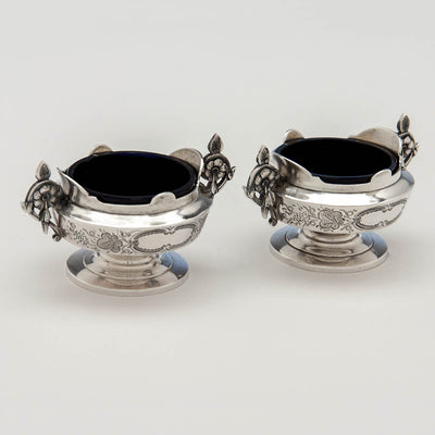 Interior of Albert Coles Pair of Coin Silver Master Salts, New York City, c. 1860