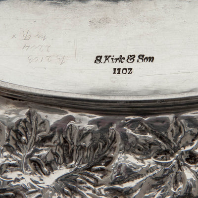 Marks on S. Kirk & Son 11oz Silver Antique Bread or Fruit Tray, Baltimore, MD, 1880-90