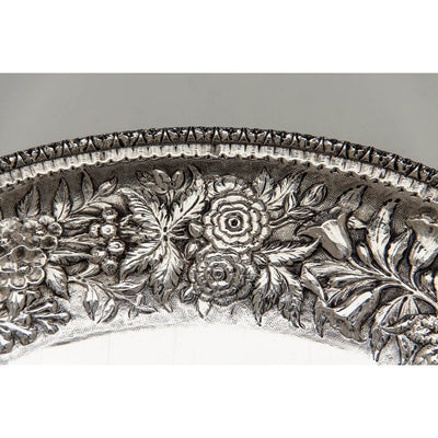 Detail of S. Kirk & Son 11oz Silver Antique Bread or Fruit Tray, Baltimore, MD, 1880-90